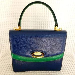 a. testoni Blue Green Top Handle Handbag